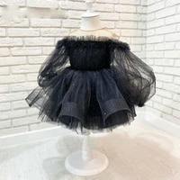 beautiful black short princess long sleeves tulle flower girl dress pageant girls party dresses gowns first communion dresses