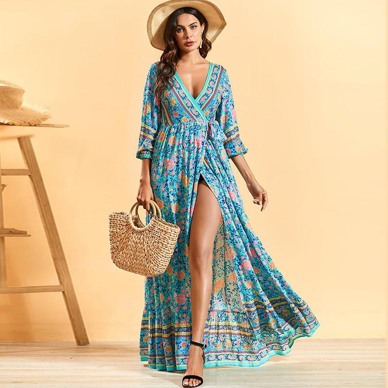 Siskakia Bohemian Long Dress Deep V Neck Lace Up Slim Waist Maxi Dress Sexy Split Beach Holiday Clothing Spring Summer 2020 New Dresses Aliexpress