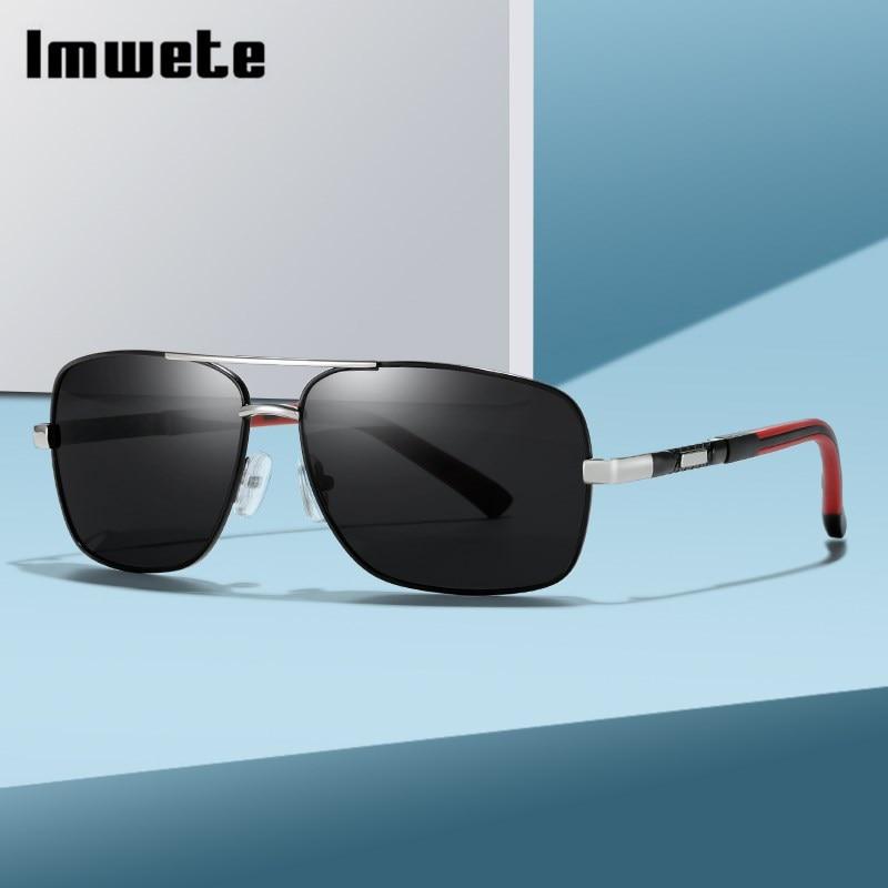 Imwete Fashion Polarized Sunglasses for Men Colors Film Lens Sun Glasses Alloy Frame Leisure Sports Outdoor Driving Goggle