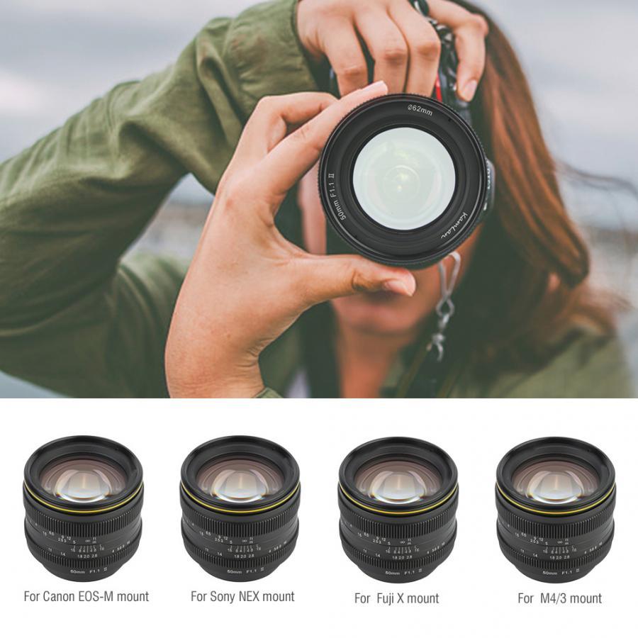 Lente de enfoque Manual de gran apertura Kamlan 50mm f1.1 II APS-C para cámaras sin espejo Lente accesorios Lente para celular