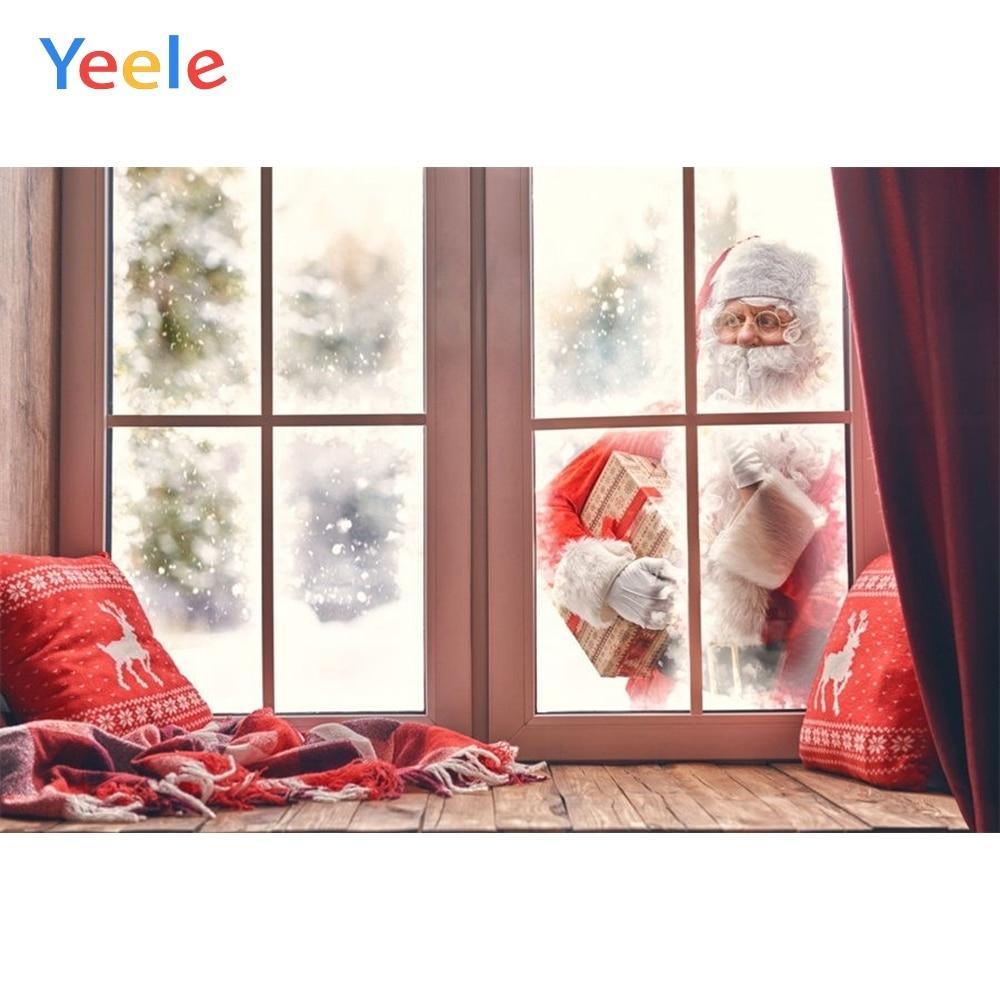 Yeele Рождественский фон Санта Клаус окно подарок Зимний снег фотография Фон Фотостудия фотосъемка Фотофон