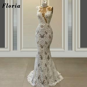 Elegant Pearls Evening Dresses Custom 2020 Long Illusion Dubai Runaway Prom Dress Party Night Gowns Weddings Vestidos De Festa