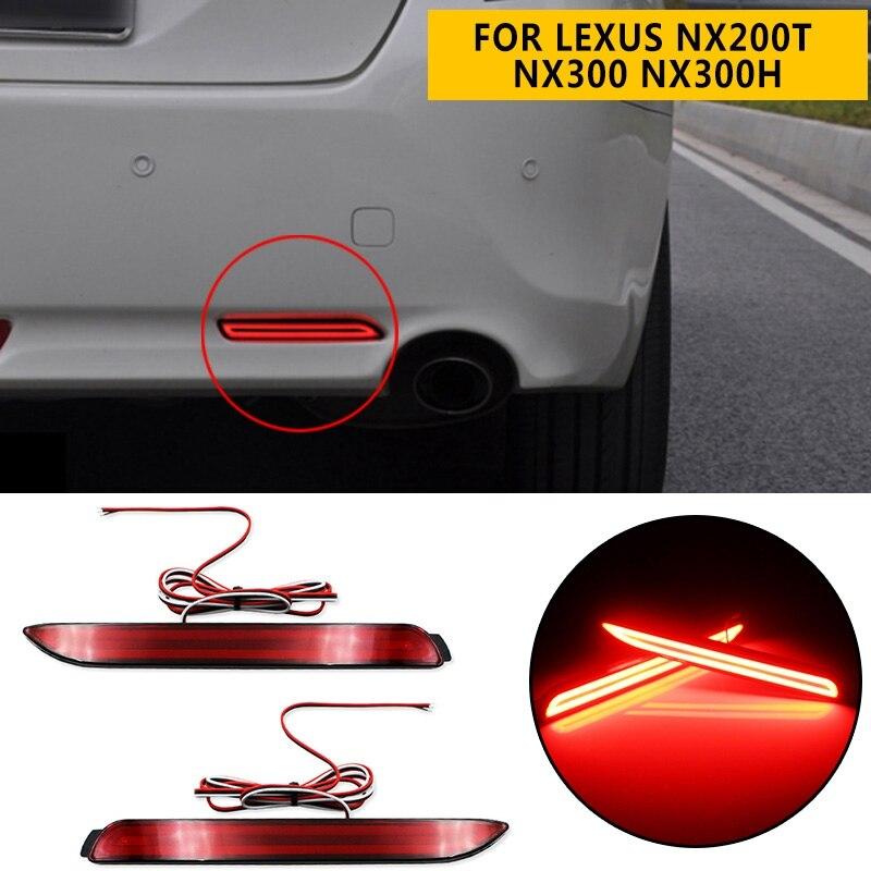 Luz LED pcmos para coche, reflector de parachoques trasero, barra de luz trasera de frenos para Toyota Camry para Lexus NX200t NX300 NX300h RC250 Nuevas pegatinas