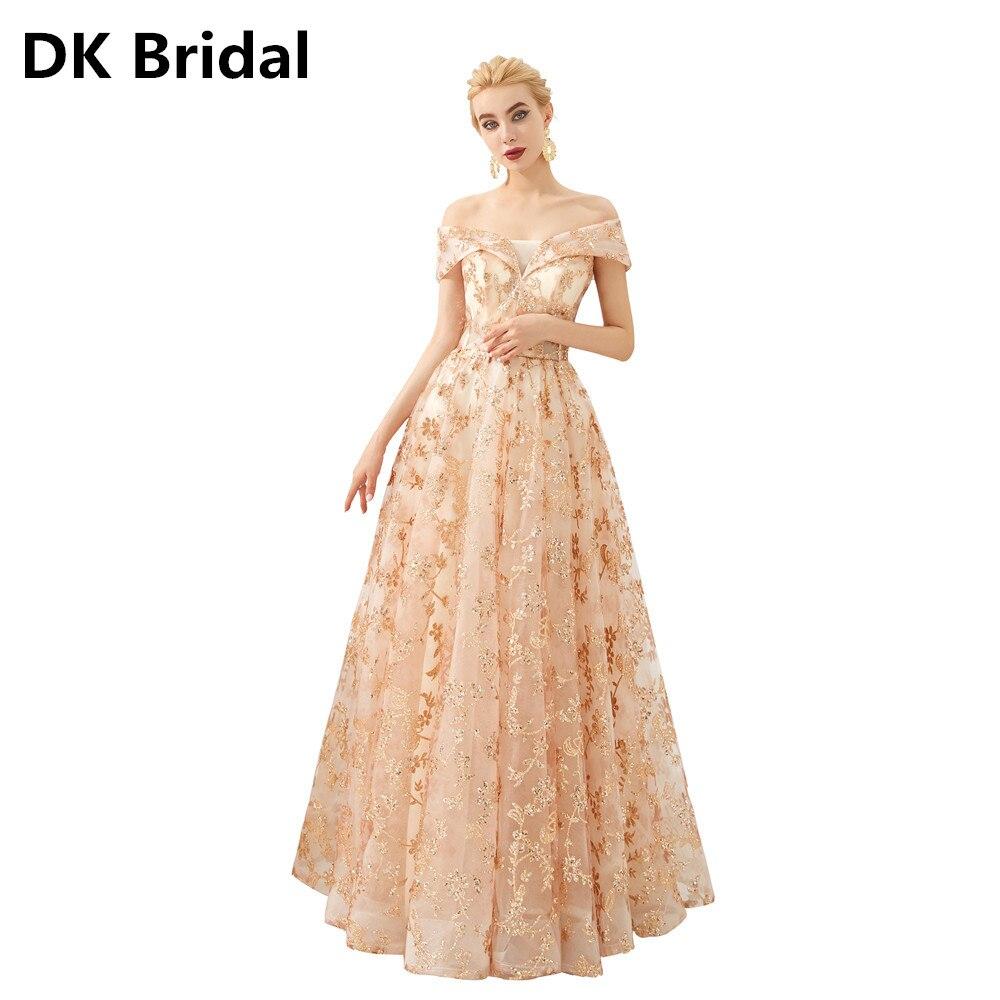 Vestidos Shiny Rose Gold Off Schulter Quinceanera Kleider Floral Gedruckt Ballkleid Formale Partei Süße 16 Kleid 2019 Lange Kleider
