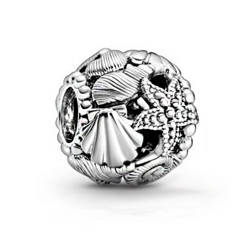 2020 verão novo 925 prata esterlina a céu aberto estrela do mar conchas coração encantos contas caber pandora original pulseiras feminino jóias diy