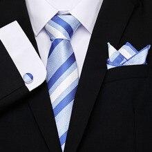 Hommes cravate ensembles boutons de manchette Mariage hommes cravates accessoires de mode 2019 Gravata travail noir bleu rouge cravates de Mariage mouchoir de poche