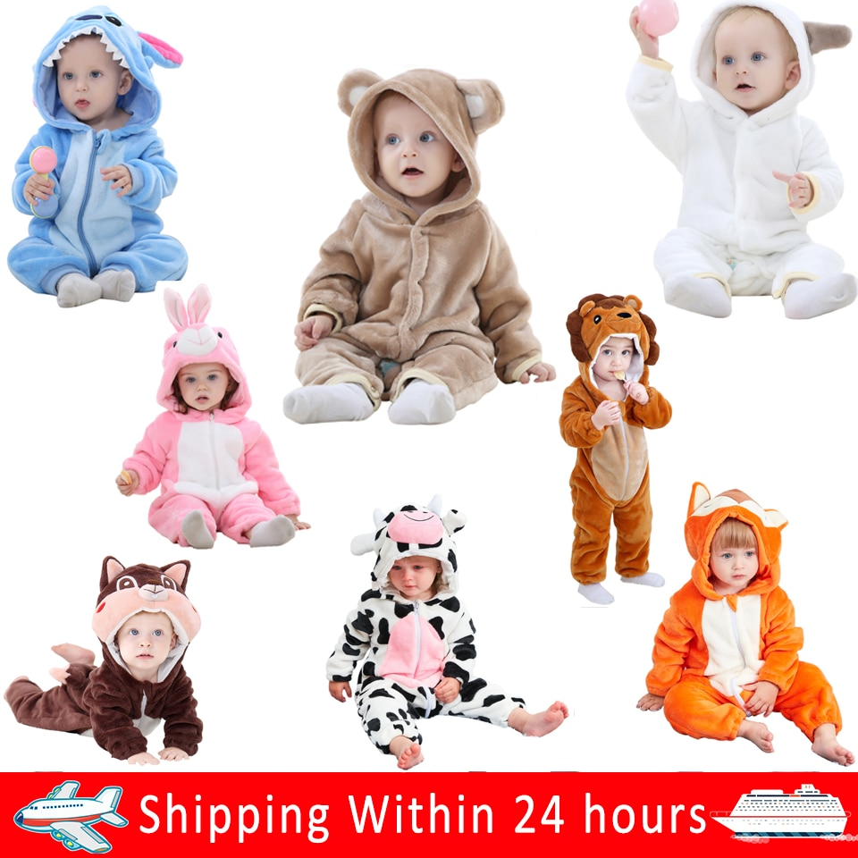 2020 Winter Baby Rompers Lovely Newborn Baby Clothes Baby Girl Jumpsuits Animal Overalls For Boy Kid Long Sleeve Bodysuit Set