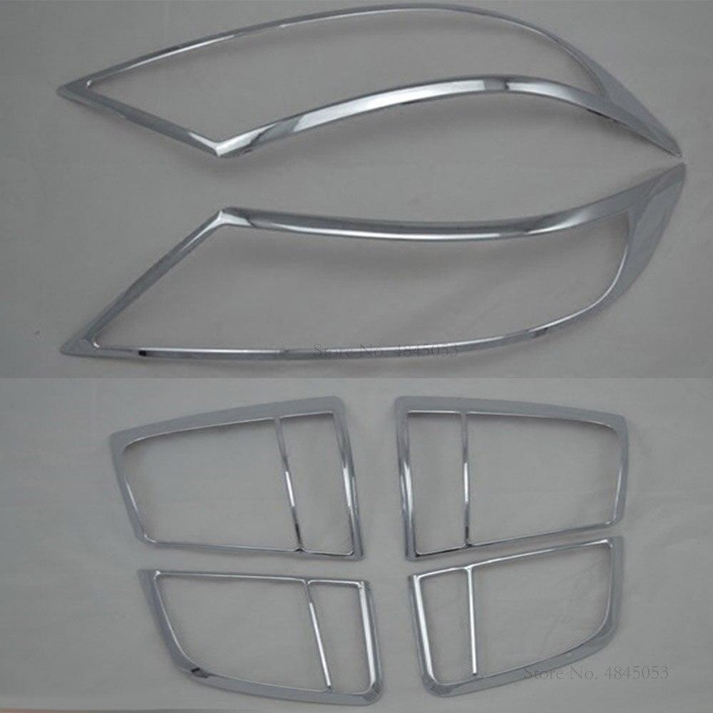 For Kia Sorento 2009-2012 Exterior ABS Chrome Taillight Cover Trims Headlight Cover Rear Light Lamp Frames Protector Car Styling