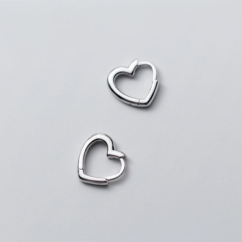 MloveAcc 100% Plata de Ley 925 auténtica pendientes de aro con hebilla de corazón bonito y sencillo para mujer, joyería para hija y novia