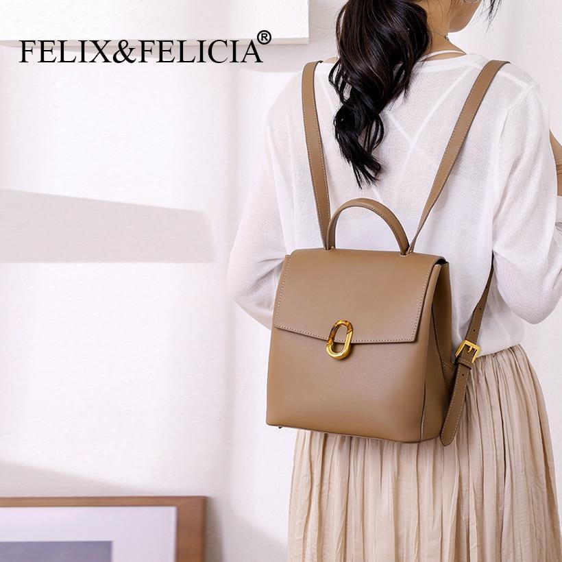 FELIX&FELICIA Factory Brand Fashion Backpacks For Women 2021 New Genuine Leather Ladies Shoulder Bag Teen School Backpack Black