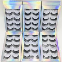 5 Pairs 3d Faux Fiber False Eyelashes Thick Volume Natural For Beauty Makeup Extension Fake Eyelashes Strip Lashes Laser Box
