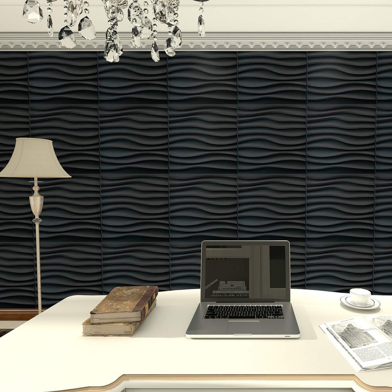50x50 سنتيمتر البلاستيك الأسود الزخرفية ثلاثية الأبعاد لوحات الحائط موجة جدار تصميم لغرفة المعيشة غرفة نوم التلفزيون خلفية حزمة من 12 البلاط