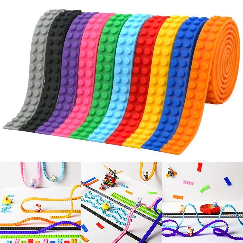 100 CENTÍMETROS 2X115 Pontos Laços de Plástico Blocos de Brinquedo De Plástico Adesivo Fita Adultos Crianças DIY Blocos de Construção Placa de Base pegajosa Fita de Suporte