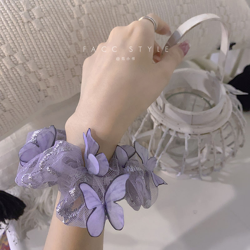 bulk buys bi635 48 butterfly ruffle accent hair twister large 1PC Sweet Elastic Rubber Band Large Intestine Hair Ring Butterfly Shape Hair Scrunchies Fashion Head Rope Woman Hair Accessorie