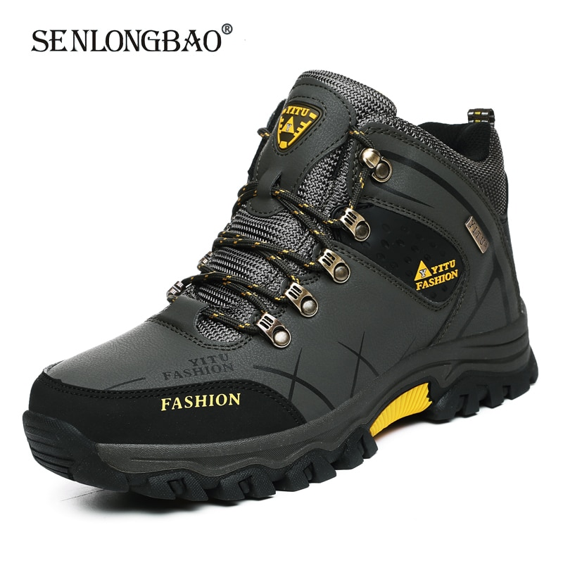 Brand Men Winter Snow Boots Waterproof Leather Sneakers Super Warm Men's Boots Outdoor Male Hiking B