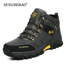 Stivali da neve invernali da uomo di marca Sneakers in pelle impermeabili stivali da uomo Super caldi stivali da trekking da uomo all'aperto scarpe da lavoro taglia 39-47