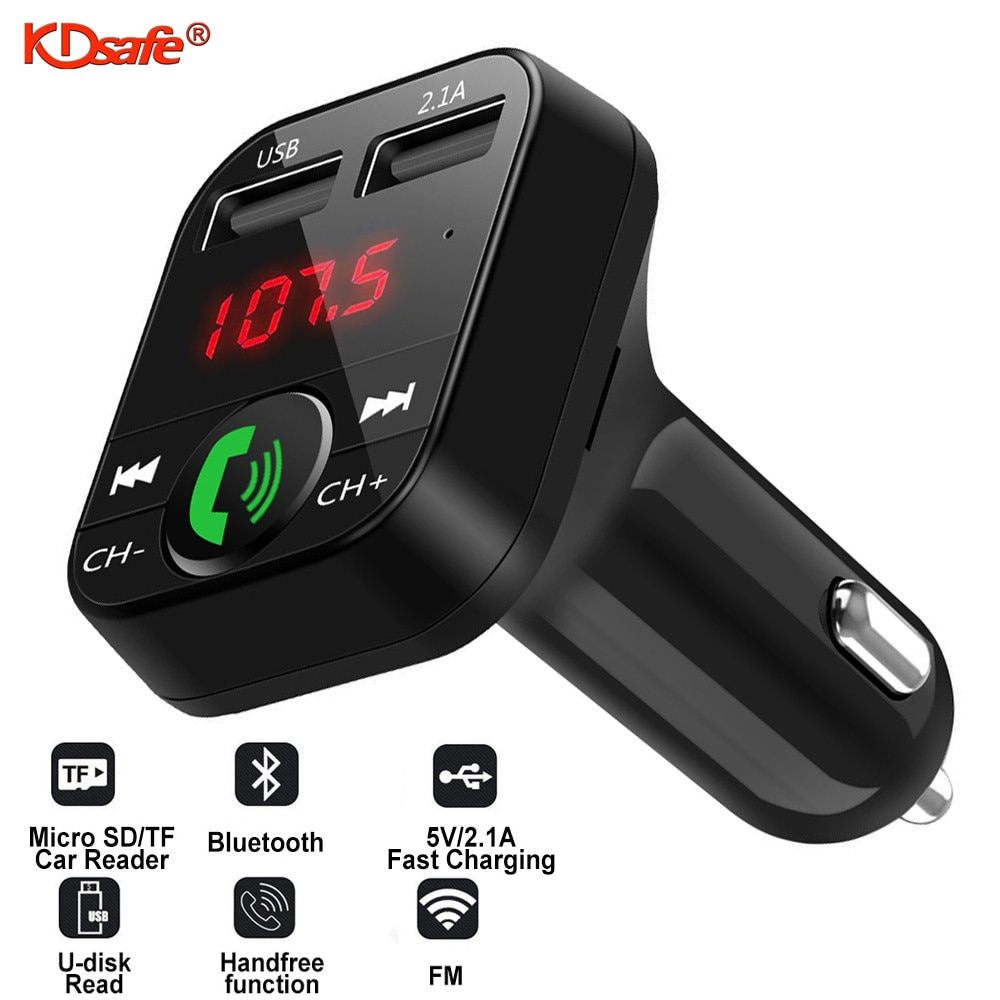 KDsafe Bluetooth Wireless Car kit Handfree LCD FM Transmitter Dual USB Car Charger 2.1A MP3 Music TF