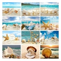 ZhuiStar     peinture diamant theme coquillage de conque  broderie complete de perles carrees ou rondes  paysage de bord de mer  autocollants muraux  decoration de maison