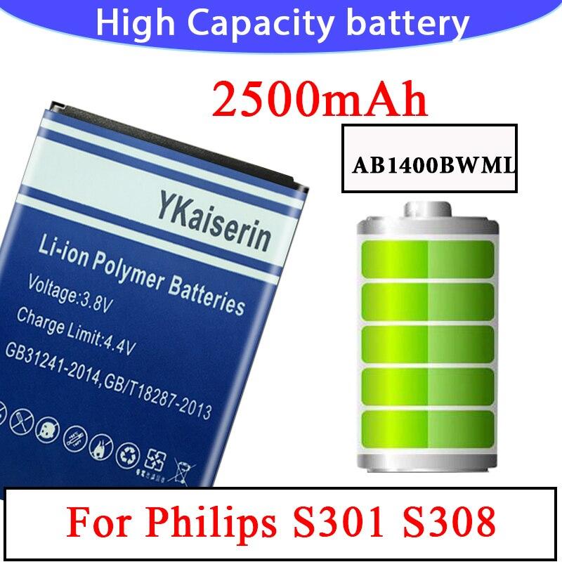 Getestet Neue AB1400BWML Batterie Ersatz Für PHILIPS S308 CTS308 für Xenium 2500mAh Volle Kapazität Tracking Anzahl