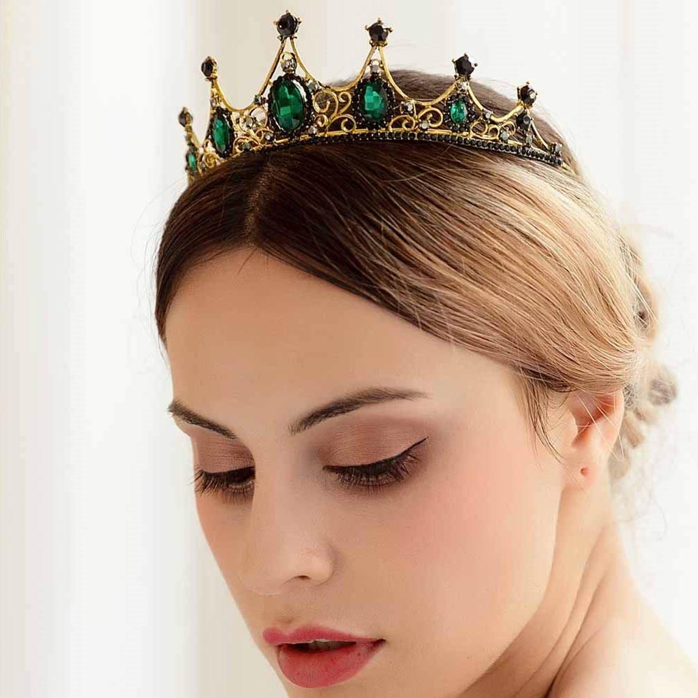 FORSEVEN-Tiara de corona de cristal verde estilo barroco Vintage, accesorios para el...