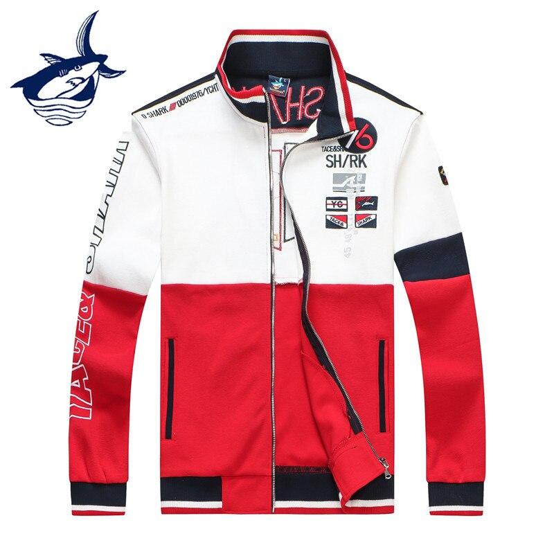 Tace & Shark Brand Men's Jackets Fashion Design Patchwork Stand Collar Sweatercoat Men High Quality Embroidery Zipper Cardigan