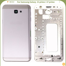 NUEVA cubierta de batería para Samsung Galaxy J5 prime / J7 prime, carcasa completa, puerta trasera de bisel medio + marco medio