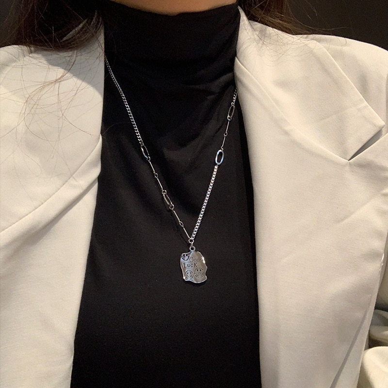 Retro Minority Irregular Square Plate Necklace Cute Goodluck Letter Pendant Sweater Chain Long Sweat