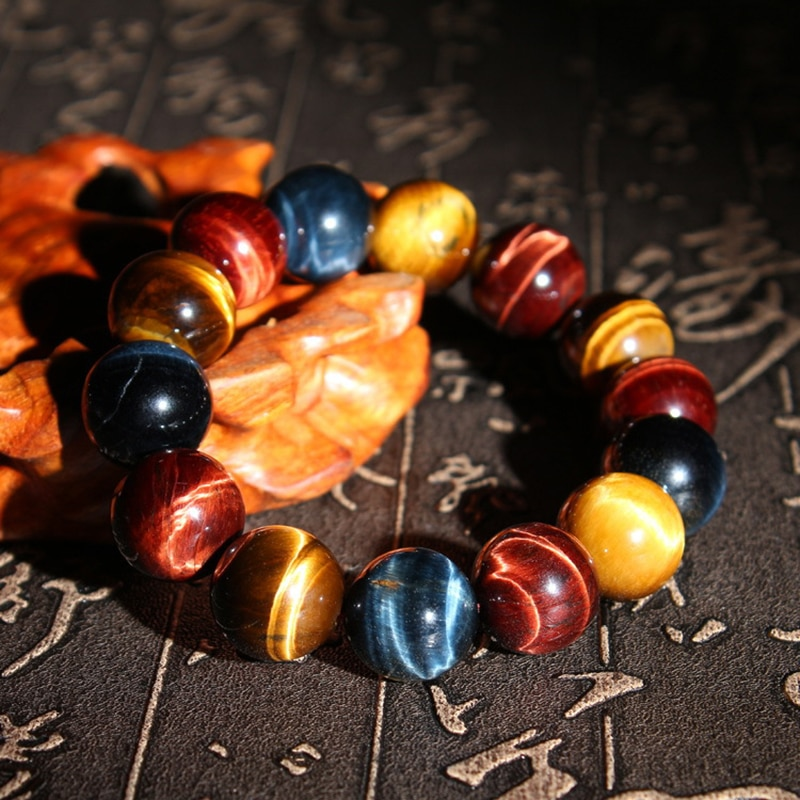 8-14MM AAAA Tiger Eye Bracelet for Men Elastic Healing Energy Natural Beaded Bracelet for Boys Anxiety Relief Jewelry Gifts