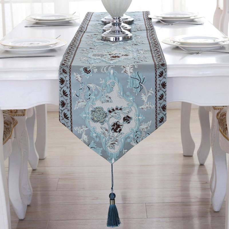 Elegant Table Runner European Silk Brocade Bed with Tassels Luxury Home Wedding Party Modern Embroidery Runners