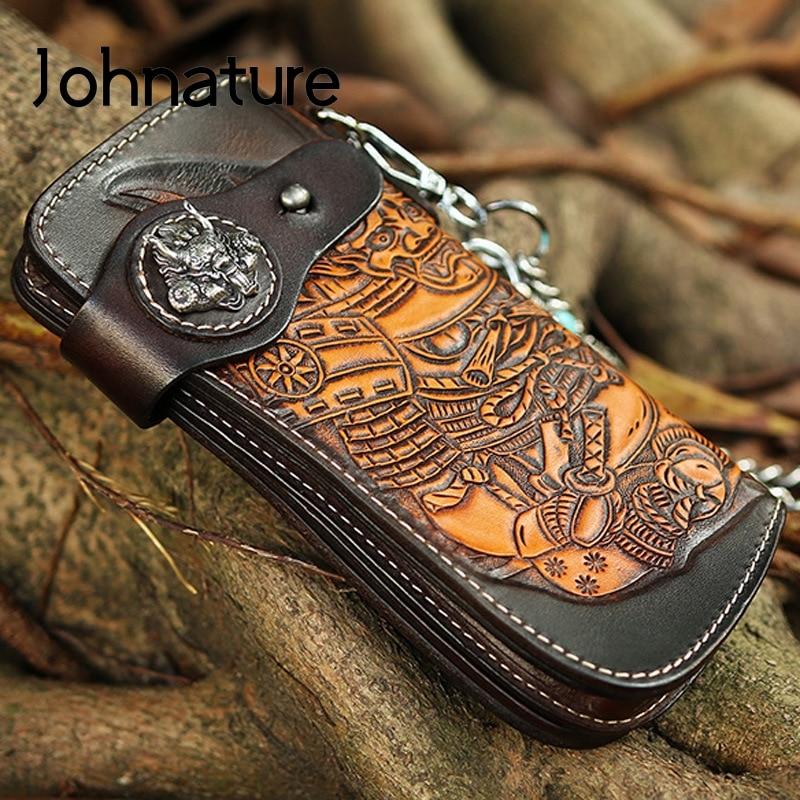 Johطبيعة-محفظة طويلة من الجلد الطبيعي للرجال ، صناعة يدوية ، ريترو ، منحوت ، جلد البقر ، جودة عالية ، سلسلة ، محفظة ، مجموعة جديدة 2021