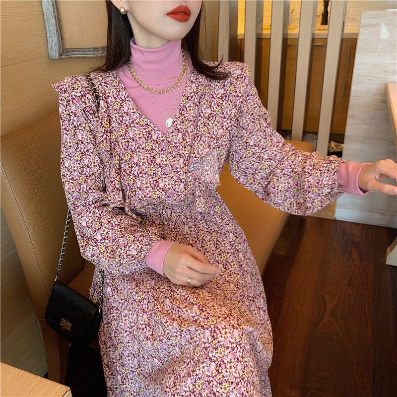 VICONE 2pcs Tops and  Printed  Dress V-neck Long Brim Falbala Floral Dress 2020 Two Piece Set