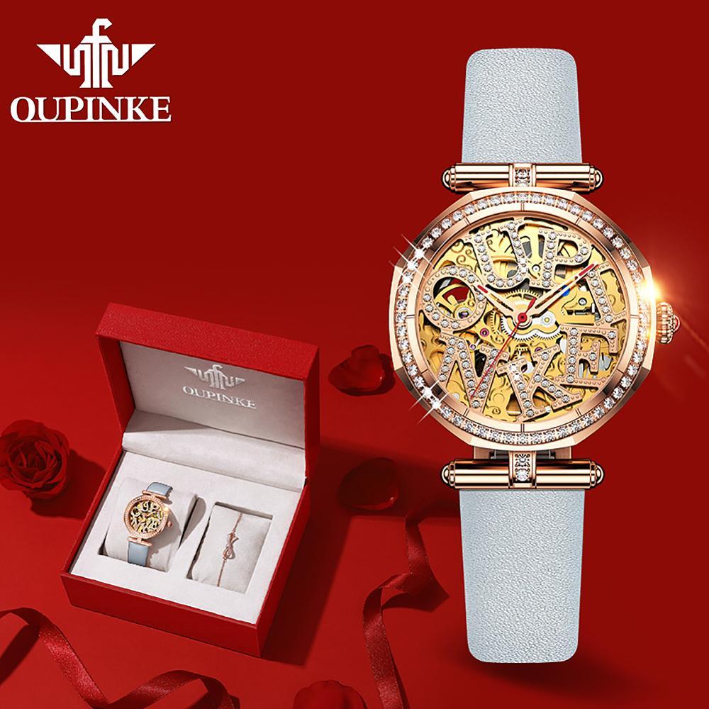 OUPINKE الميكانيكية ساعة نسائية سويسرا أفضل العلامة التجارية الفاخرة السيدات ساعة الموضة الياقوت مقاوم للماء ساعة أوتوماتيكية reloj mujer