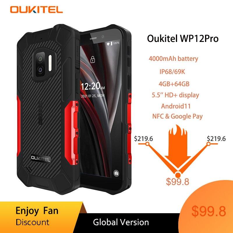 OUKITEL WP12 Pro MT6762D ثماني النواة 4GB + 64GB IP68 مقاوم للماء الهاتف الذكي أندرويد 11 5.5 ''HD + 4000mAh NFC هاتف محمول وعر