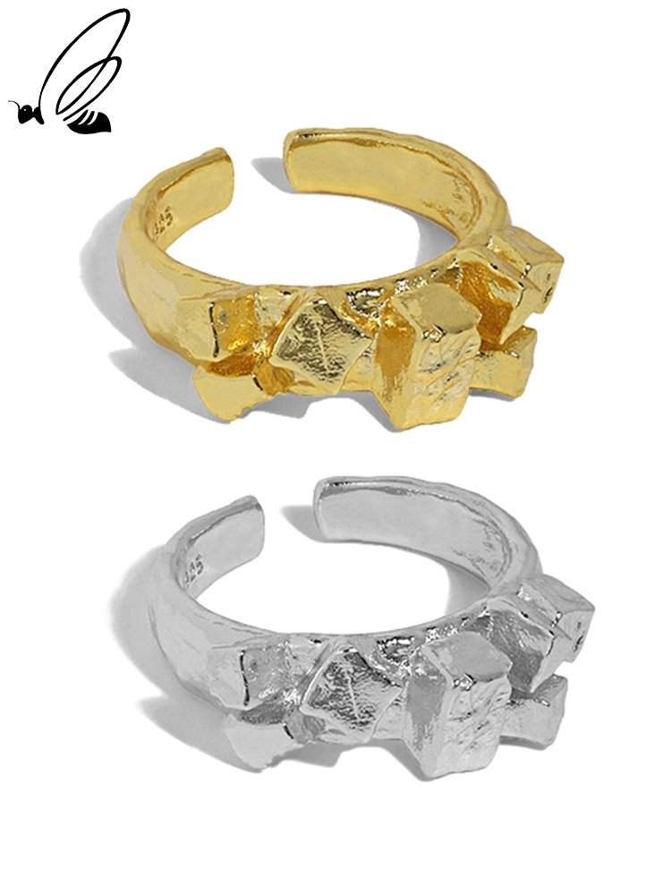 S'STEEL Sterling Silver 925 Simple Irregular Rings Gifts For Women Gold Adjustable Open Ring Bague F