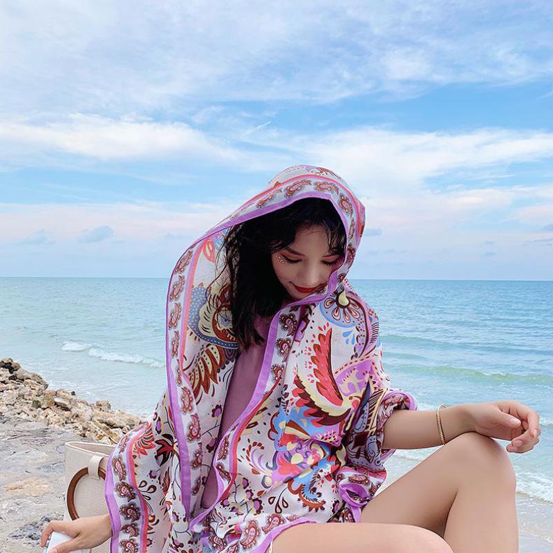 Фото - Женский шарф из искусственного шелка пляжная шаль весна лето осенний шарф плед размер Пляжная шаль шарф для женщин шелковый шарф шаль женщин лето солнце