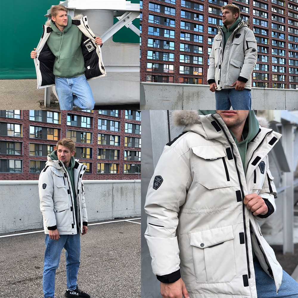 Thick Men's Down Jacket Plus Size Real Fur Collar Warm Coat Thick Loose Mid-length Hooded Jacket