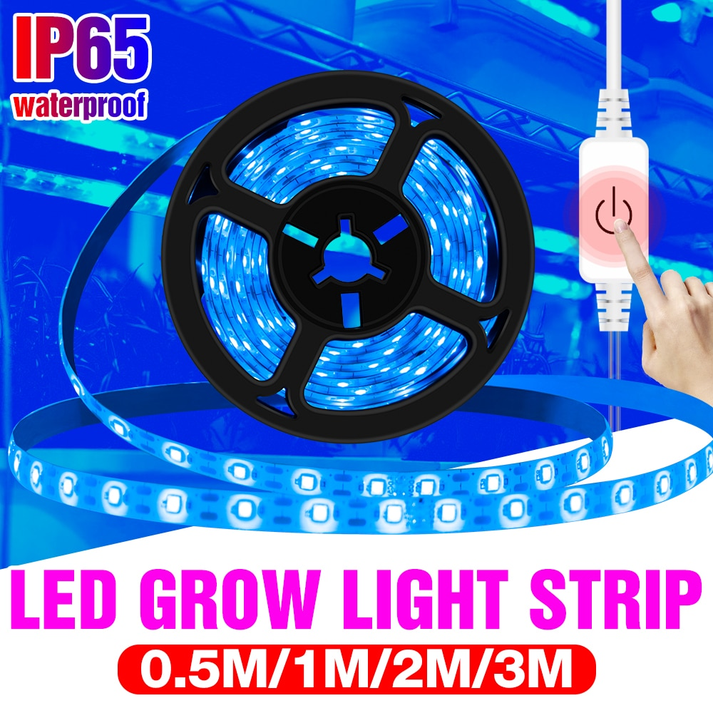 3m led grow light strip full spectrum uv lamps for plants waterproof phyto tape with adapter and switch for greenhouse grow tent Full Spectrum 5V LED Grow Light Strip UV Lamps for Plants Waterproof Phyto Lamp Blue Tape For Greenhouse Grow Tent Hydroponic