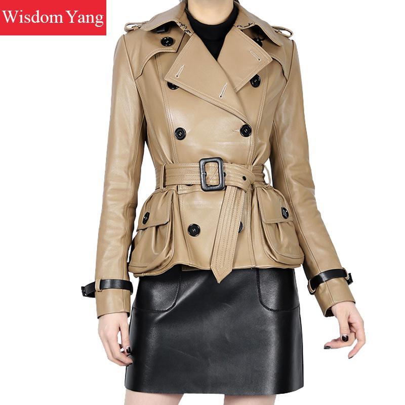 Autumn Khaki Sheepskin Genuine Leather Jackets Short Womens Coats Ladies Tops Trench Jacket Coat Slim Female Overcoat Outerwear