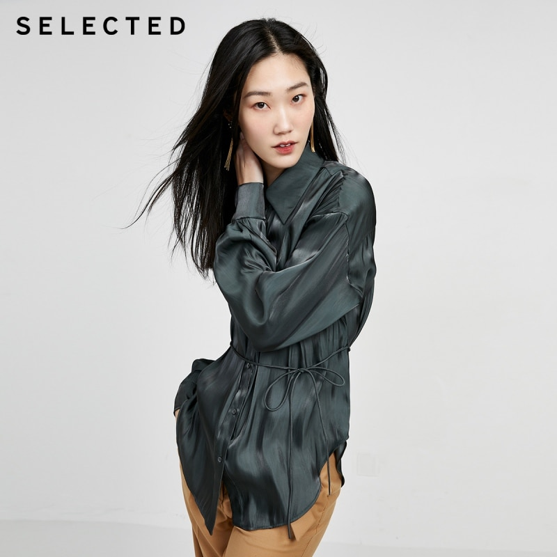 SELECTED Women's Silky Shiny Lace-up Temperament Commuter Long-sleeved Shirts S|420205502