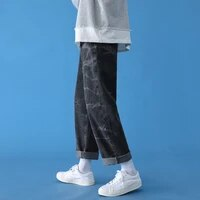 2021 brand clothing men spring casual pure cotton jeanswomen autumn fashion loose wide legged pants couples trousers blue black