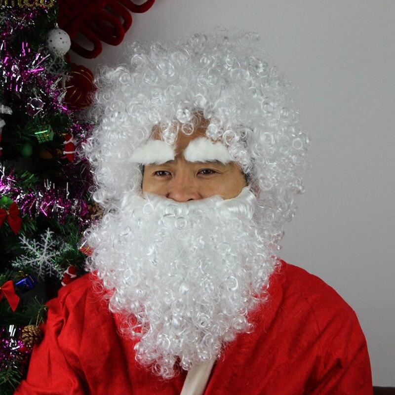 Navidad Cosplay juego de pelucas Santa Claus barba blanca cejas pelucas pelo rizado sintético adulto Cosplay disfraz juego de rol regalos