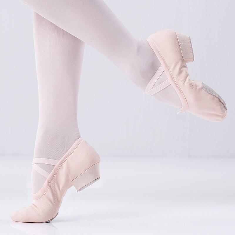 Anti-skid Atmungsaktive Erwachsene Damen Frauen Niedrigen Ferse Ballett Schuhe Leinwand Baumwolle Bühne Dance Tragen Pointe Schuhe 35- 40 größe Schwarz Rosa
