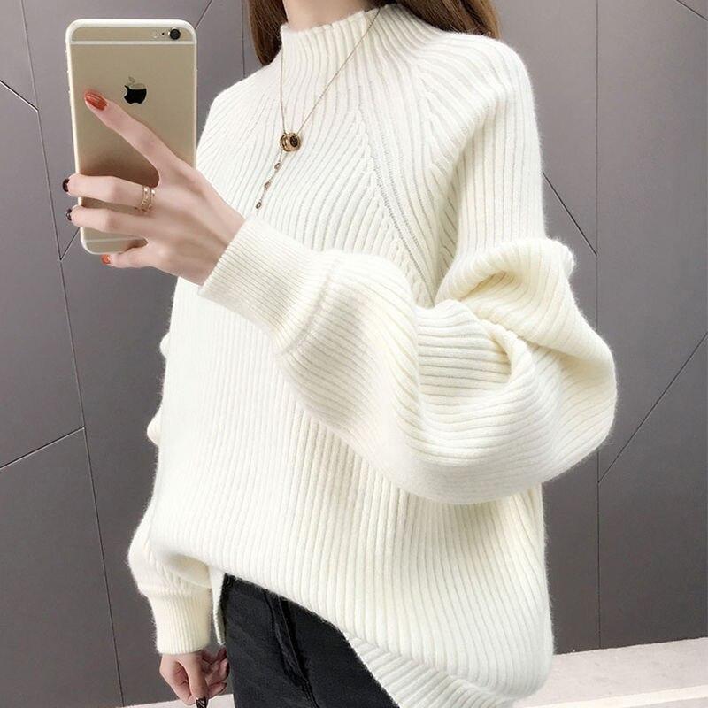 Suéter de cuello alto Medio para mujer suelto grueso Otoño e Invierno nueva versión coreana de manga de burbuja manga de cabeza de manga larga