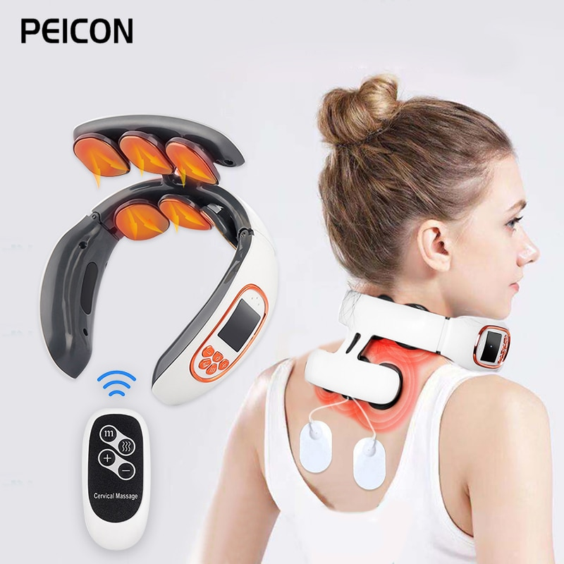 6 Heads Electric Neck and Back Pulse Massager with Heat Pain Relief Relaxation TENS Cervical Massager with Remote Control