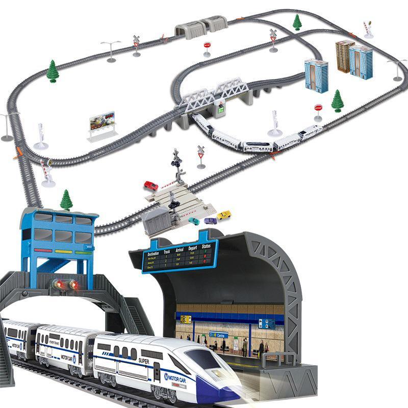 سكة حديد كهربائية عالية السرعة للأطفال ، لعبة لتجميع نفسك ، للتجميع والكريسماس وأعياد الميلاد