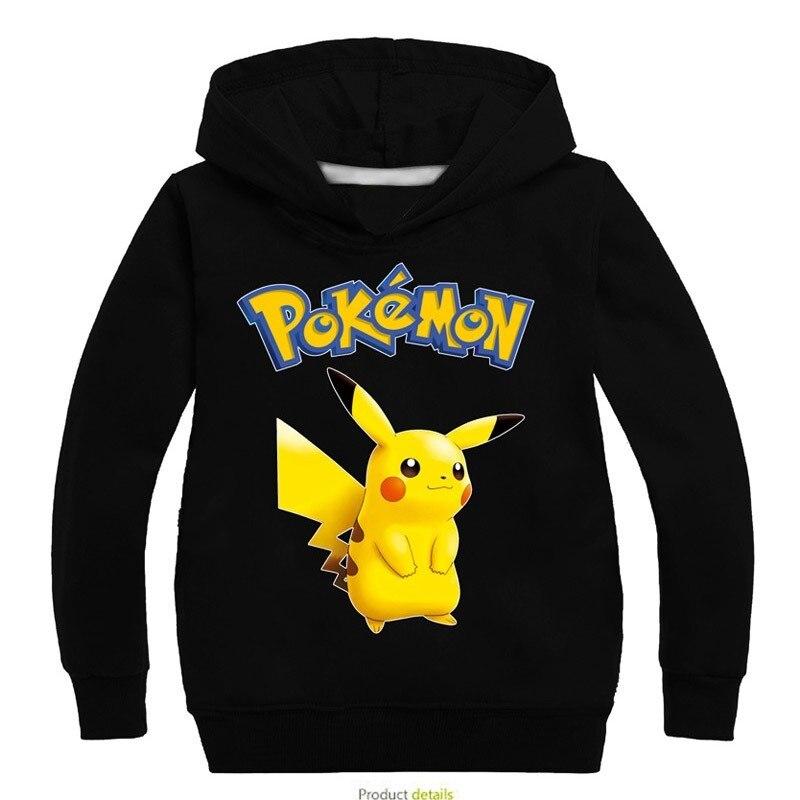 Nueva sudadera POKEMON GO Otoño de algodón con capucha de dibujos animados Pikachu niños grandes ropa navideña para niñas Camiseta de manga larga grinch