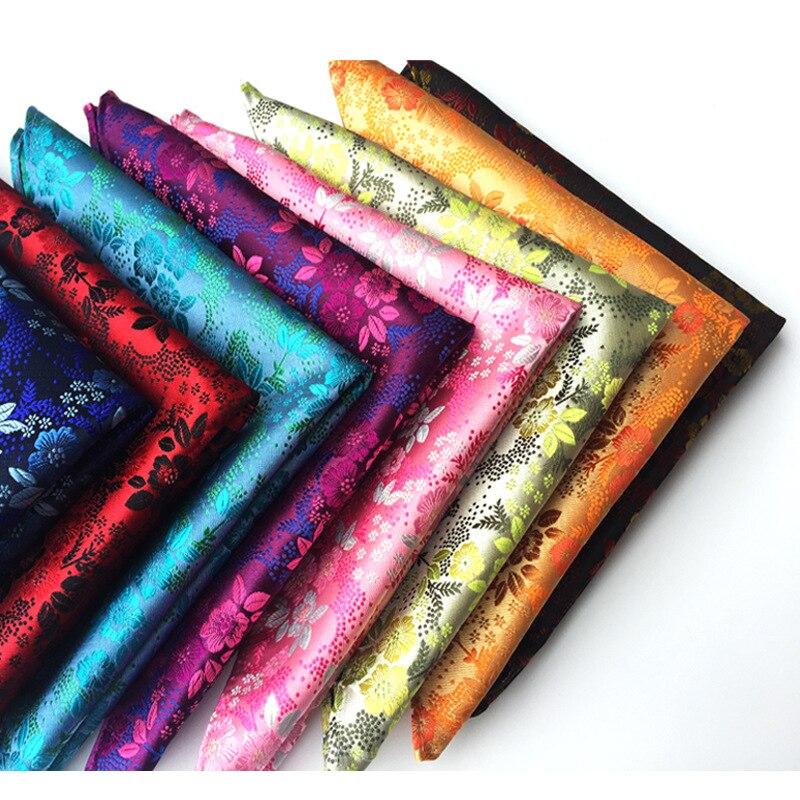 Новинка дизайн мода мужчины шелк полиэстер пейсли цветок карман квадрат платок платок однотонный 15 цвет свадьба вечеринка аксессуары