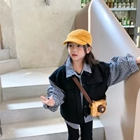 2021 autumn new childrens wear girls fake two piece coat childrens foreign style plaid jacket baby loose top