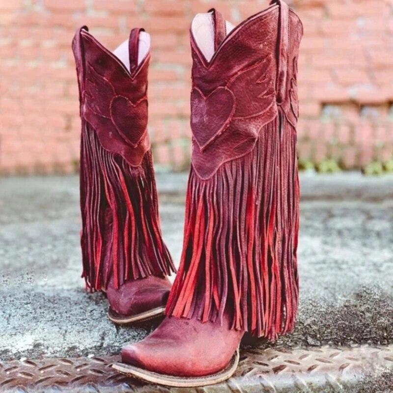 حذاء نسائي بكعب منخفض على الطراز البوهيمي ، أحذية عصرية ، نمط المصارع ، رعاة البقر ، شرابة ، لفصلي الربيع والخريف