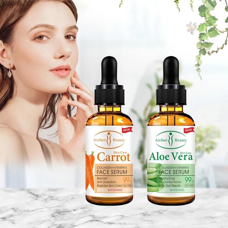 Aichun 2PCS/SET Skin Care Facial Repair Skin Serum Retinol Serum Firming Anti-Wrinkle Anti-Aging Acne 30ml Carrot Aloe Vera Oil